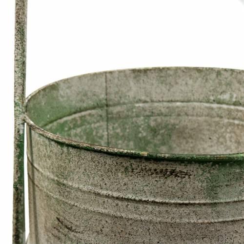 Supporto in metallo con ciotole grigio, verde H68cm