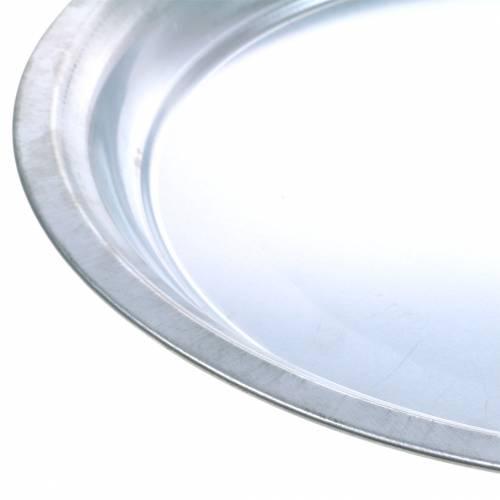 Piastra metallica base argento lucido Ø45,5 cm H4 cm