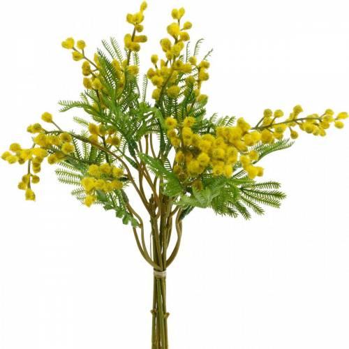 Mimosa giallo fascio di piante artificiali artificiali 39 cm