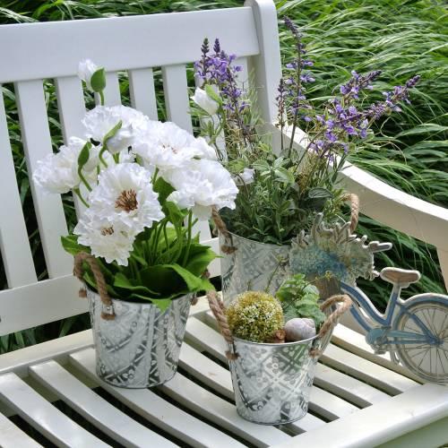 Papavero in una pentola fiori di seta bianca decorazione floreale