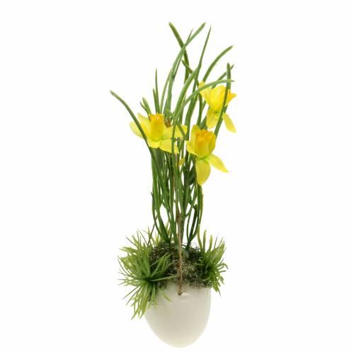 Narciso nel guscio d'uovo da appendere Artificial yellow 25cm