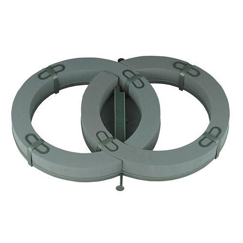 Anello doppio in schiuma floreale 55 cm x 39 cm H6 cm 1 pz