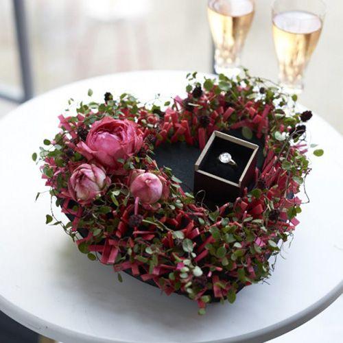 Cuore in schiuma floreale nero 33cm 2 pezzi decorazione di cerimonia nuziale