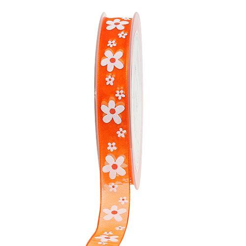 Nastro di organza arancione con motivo floreale 15mm 20m