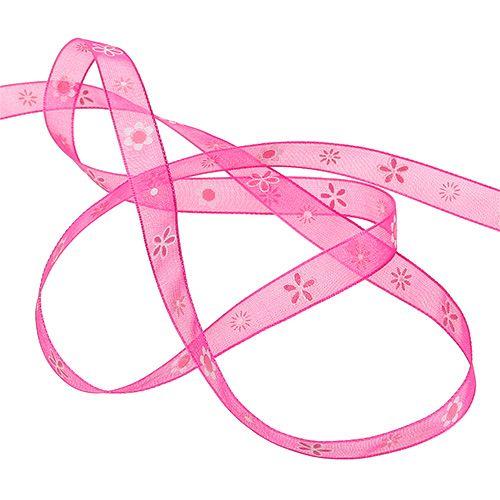 Nastro di organza rosa con motivo 10mm 20m