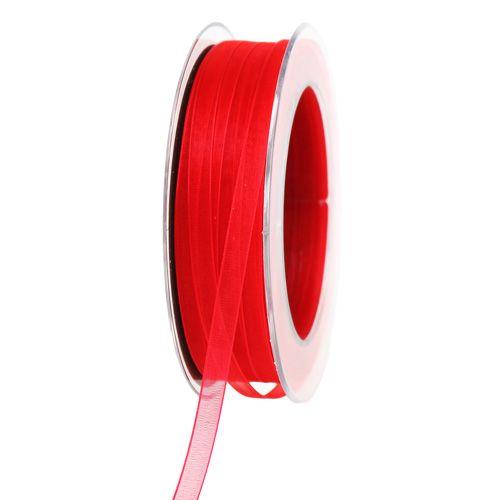 Nastro in organza con cimosa rossa 7mm 50m