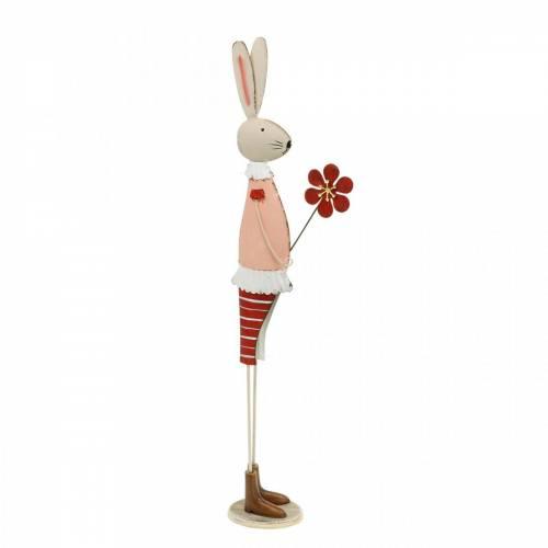 Decorazione pasquale in metallo, primavera, coniglietto pasquale con fiore, coniglio decorativo 44 cm
