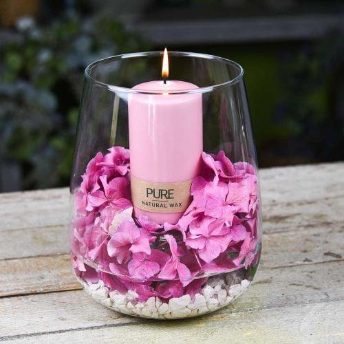 Candela pilastro PURA 130/70 Candela decorativa rosa cera naturale sostenibile