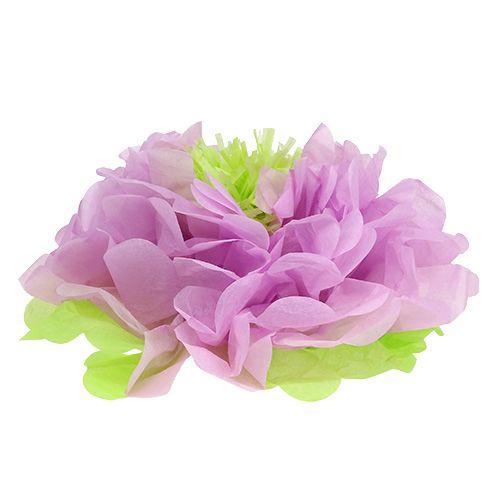 Fiore di carta Ø28cm per appendere verde-viola