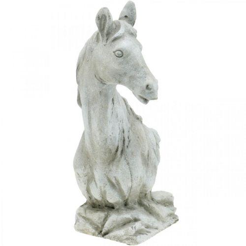 Testa di cavallo busto deco figura cavallo ceramica bianco, grigio H31cm