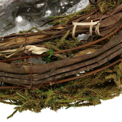 Fioriera composta da viti e muschio 35 cm x 20 cm