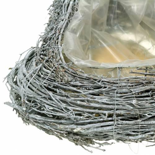 Rami di cuore di pianta lavati bianchi 40 cm x 30 cm