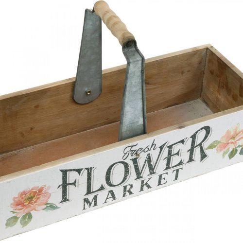 Fioriera, decorazione floreale, scatola di legno per piantare, fioriera aspetto nostalgico 41,5 × 16 cm