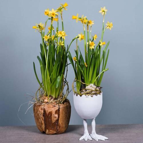 Vaso di Pasqua Uovo con gambe Bianco Ø13cm H21cm