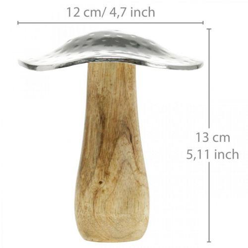 Fungo decorativo metallo legno argento, decorazione autunnale naturale 13cm