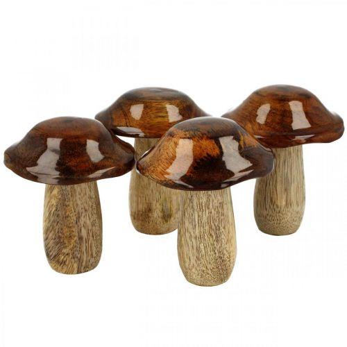 Deco fungo legno di mango decorazione autunnale Ø7cm H9cm 4 pezzi