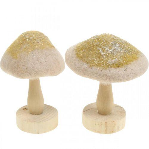 Fungo decorativo in legno, feltro con glitter, decorazione da tavola Avvento H11cm
