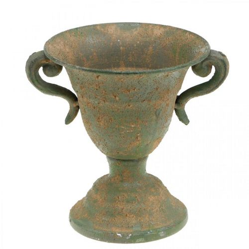 Anfora in metallo, porta piante, calice con manici Ø12,5cm H15cm