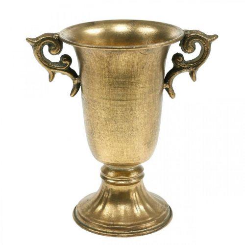 Tazza decorativa con manici dorati Ø11cm H17,8cm aspetto antico