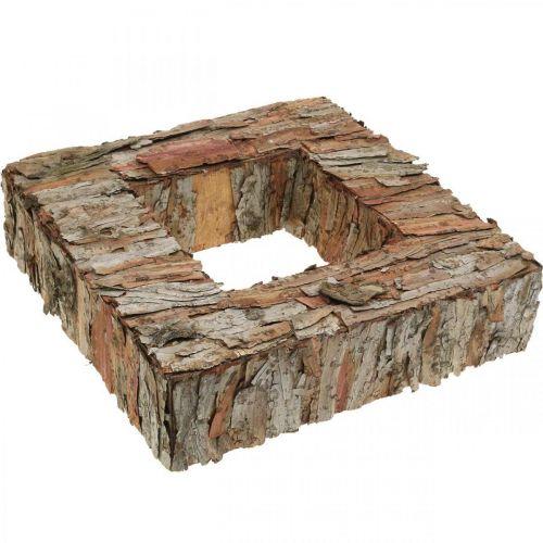 Deco corteccia d'albero quadrato aperto corteccia di pino decorazione autunnale 30 × 30 cm