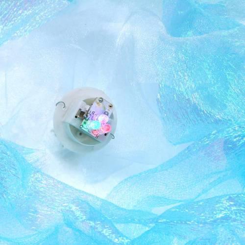 Medusa decorativa da appendere blu scintillante con luce LED Ø26 H65cm