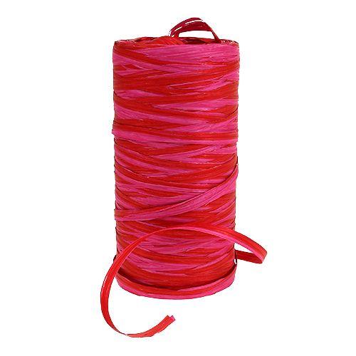 Rafia bicolore rosso-rosa 200m
