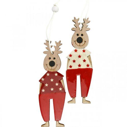 Renne da appendere, addobbi natalizi, addobbi albero di natale, addobbi in legno per l'Avvento H13cm 8pz