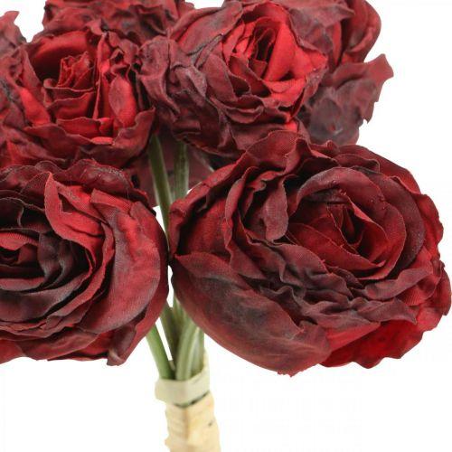 Rose artificiali rosse, fiori di seta, mazzo di rose L23cm 8 pezzi