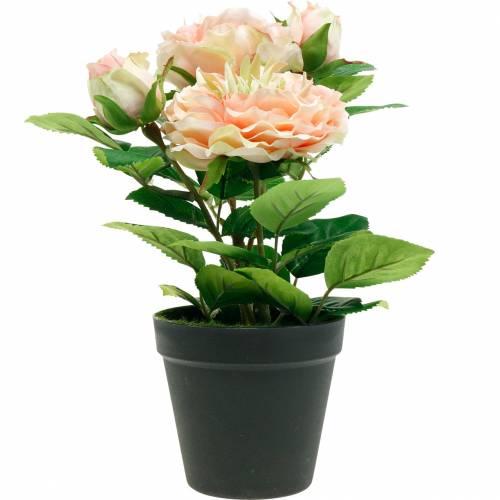 Rosa decorativa in vaso, romantici fiori di seta, peonia rosa