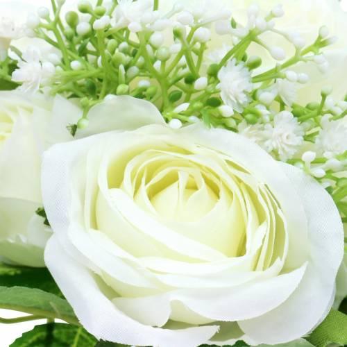 Bouquet di rose con gypsophila bianco 26 cm