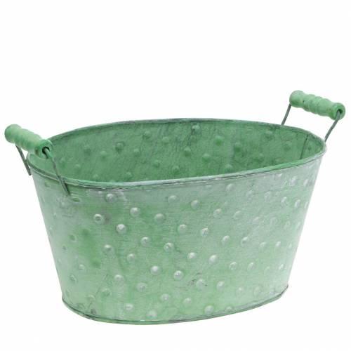 Fioriera decorativa in metallo verde ovale 25,5x18,5 cm H13cm