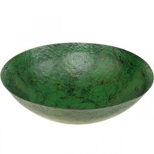 Ciotola decorativa grande decorazione da tavola vintage in metallo verde Ø42cm