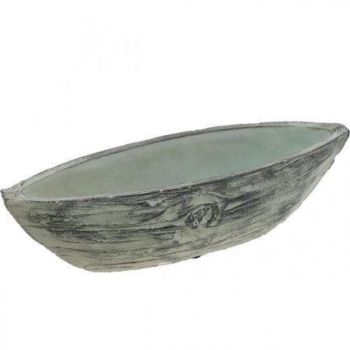 Vaso per fioriera ovale in cemento barca design in legno 37 × 11,5 cm H10 cm