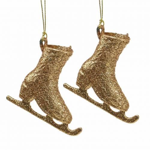 Decorazioni per albero di Natale pattino da ghiaccio in oro, glitter 8 cm 12 pezzi
