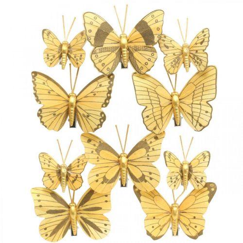 Farfalla primaverile con clip decorazione primaverile dorata 6 cm 10 pezzi in un set