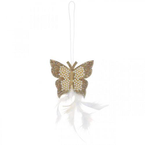 Farfalla in feltro da appendere decorazione matrimonio color crema 16cm
