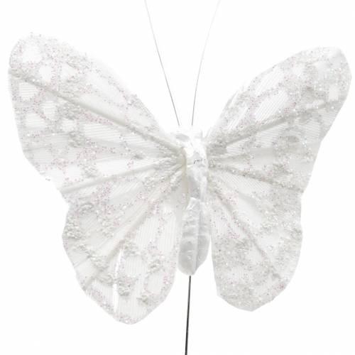 Farfalla piuma con filo bianco, glitter 5cm 24 pezzi