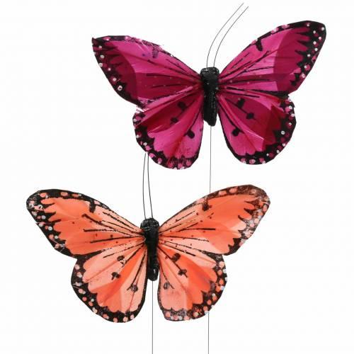 Farfalla piuma con filo colore salmone e viola 10cm 12 pezzi