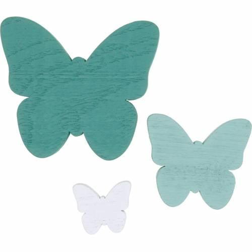 Farfalle per spolverare decoro in legno verde, menta, bianco 29pz