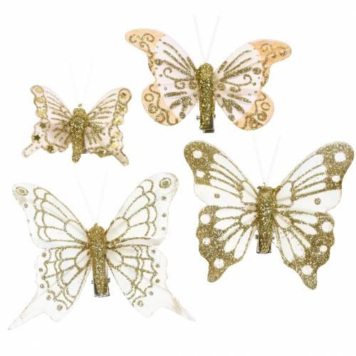 Farfalla piuma su clip glitter oro 10pz