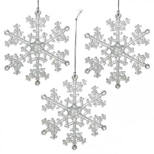 Fiocco di neve decorativo, decorazione invernale, cristallo di ghiaccio da appendere, Natale H10cm L9,5cm plastica 12 pezzi