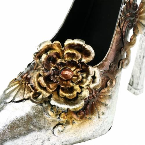 Scarpa decorativa per piantare scarpe argento lucido 26 cm x 11 cm H30 cm