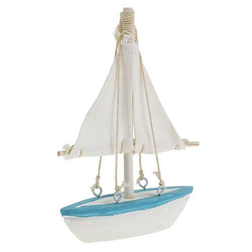 Barca a vela 10 cm x 14 cm bianco-blu
