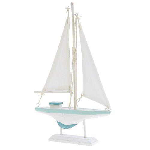 Barca a vela legno bianco-blu, decorazione marinara in lino 30cm