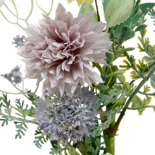 Fiori di seta in un mazzo, decorazioni estive, crisantemi e cardi sferici, fiori artificiali L50cm