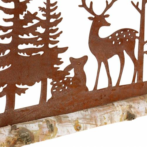 Sagoma della foresta con animali rusticati su base in legno 57 cm x 25 cm