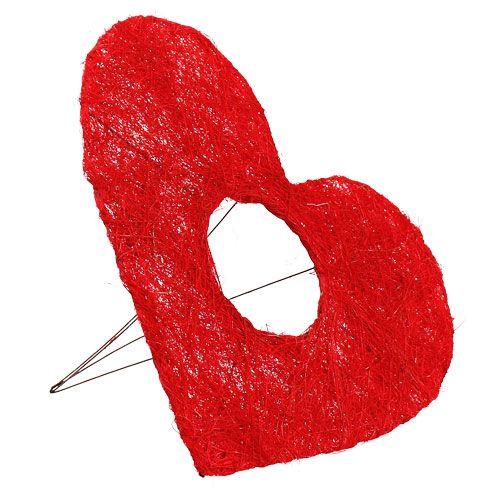 Polsino cuore in sisal 25 cm rosso 10 pezzi