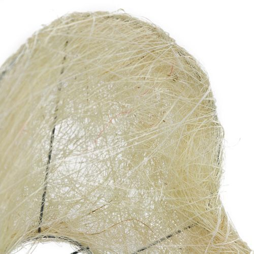 Cuore polsino in sisal 15 cm x 19 cm sbiancato 1pz