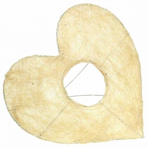 Bracciale in sisal cuore sbiancato 25,5 cm 10 pezzi