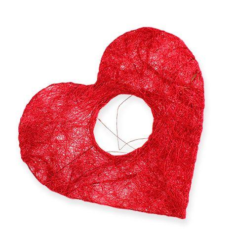 Sisal Heart Cuff 10cm Rosso 12 pezzi